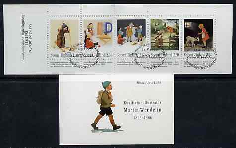 Booklet - Finland 1993 Martta Wendelin (Artist) 11m50 booklet complete with first day commemorative cancel, SG SB39
