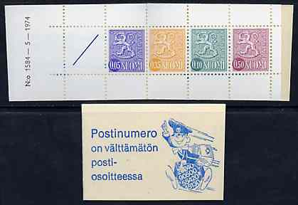 Booklet - Finland 1974 Lion (National Arms) 1m booklet (blue & white cover) complete and pristine, SG SB11m