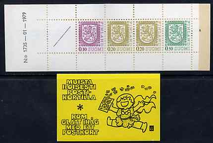 Booklet - Finland 1978 Lion (National Arms) 1m booklet (black on yellow cover) complete and pristine, SG SB13