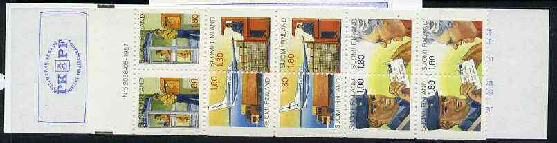 Booklet - Finland 1988 Anniversary of Posts & Telecommunications Service 14m booklet complete and pristine, SG SB23, stamps on postal    postman    postbox     aviation    telephone     communications