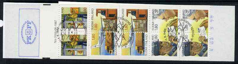 Booklet - Finland 1988 Anniversary of Posts & Telecommunications Service 14m booklet complete with first day commemorative cancel, SG SB23, stamps on postal    postman    postbox     aviation    telephone       communications