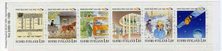Booklet - Finland 1988 Anniversary of Posts & Telecommunications Service 10m80 booklet complete and pristine, SG SB26, stamps on postal    postman    skiing    communications    satellites    horses       telephone