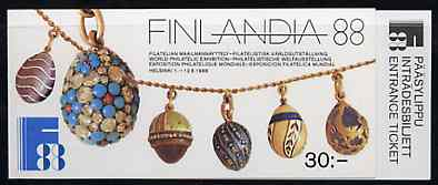 Booklet - Finland 1988 'Finlandia 88' 30m booklet complete with tear-off admission ticket, with first day commemorative cancel, SG SB24