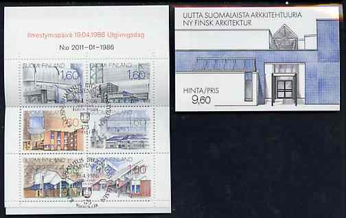 Booklet - Finland 1986 Modern Architecture 9m60 booklet complete with first day commemorative cancel, SG SB20