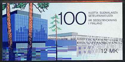 Booklet - Finland 1985 Centenary of Finnish Banknote Printing 12m booklet complete with first day commemorative cancel, SG SB18