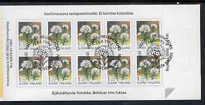 Booklet - Finland 1993 Provincial Plants (Labrador Tea) 23m self-adhesive booklet complete with first day commemorative cancel, SG SB38
