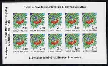 Finland 1991 Provincial Plants (Rowan) 2m10 self-adhesive in complete sheetlet of 10, SG 1206, stamps on trees     fruit       self adhesive