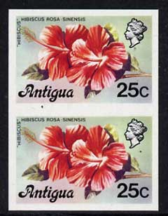 Antigua 1976 Hibiscus 25c (without imprint) unmounted mint imperforate pair (as SG 479A)