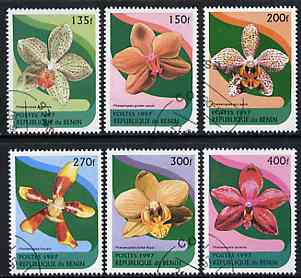 Benin 1997 Orchids complete set of 6 values cto used
