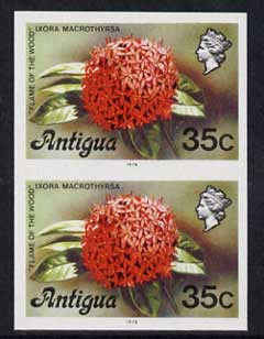 Antigua 1976 Flames of the Wood 35c (with imprint) unmounted mint imperforate pair (as SG 480B)