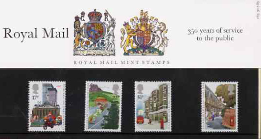 Great Britain 1985 Royal Mail 350 Years set of 4 in official presentation pack, SG 1290-93
