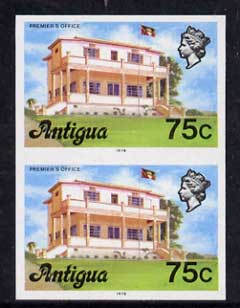 Antigua 1976 Premier's Office 75c (with imprint) unmounted mint imperforate pair (as SG 482B)