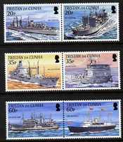 Tristan da Cunha 2002 Royal Navy Connections - series 2 perf set of 6 (3 se-tenant pairs) unmounted mint SG 787-92