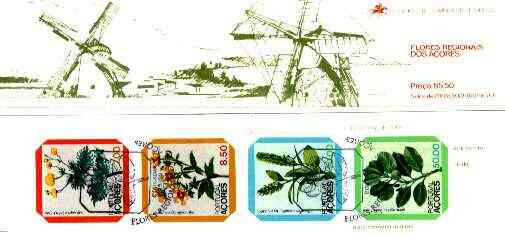 Booklet - Portugal - Azores 1981 Regional Flowers 85E50 booklet (Windmill on covers) complete (stamps with commemorative cancel), SG SB2
