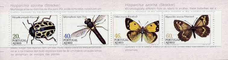 Booklet - Portugal - Azores 1985 Insects (2nd series) 166E booklet (Butterfly on Cover) complete and very fine, SG SB6
