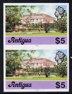 Antigua 1976 Government House $5 (with imprint) unmounted mint imperforate pair (as SG 485B)