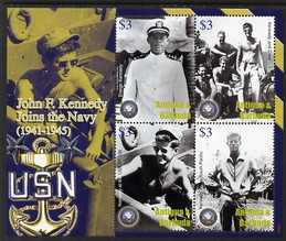 Antigua 2007 90th Birth Anniversary of John F Kennedy perf sheetlet of 4 (JFK Joins the Navy) unmounted mint, SG 4061a