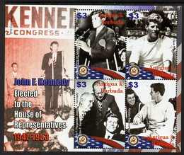 Antigua 2007 90th Birth Anniversary of John F Kennedy perf sheetlet of 4 (JFK elected to the House of Representatives) unmounted mint, SG 4065a