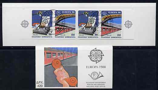 Booklet - Greece 1988 Europa (Transport & Communications) 420Dr booklet complete with first day cancels