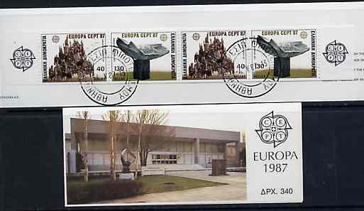 Booklet - Greece 1987 Europa (Sculpture) 340Dr booklet complete with first day cancels