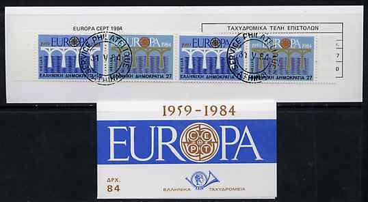 Booklet - Greece 1984 Europa (CEPT) 84Dr booklet complete with first day cancels