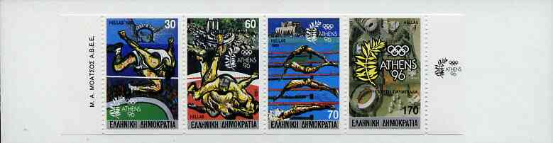 Booklet - Greece 1989 Centenary of Olympic Games 330Dr booklet complete and very fine