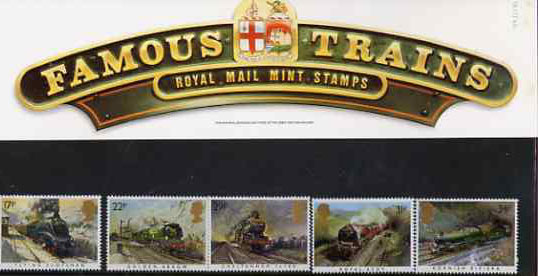 Great Britain 1985 Famous Trains set of 5 in official presentation pack SG 1272-76
