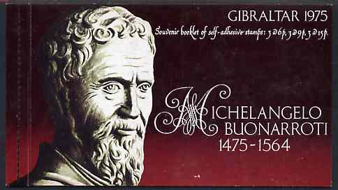 Booklet - Gibraltar 1975 Michelangelo 90p self-adhesive booklet complete and pristine SG SB4