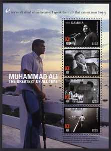 Gambia 2008 Muhammad Ali perf sheetlet of 4 - They're all afraid of me because I speak the truth that can set men free, unmounted mint, SG 5207a