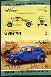 St Vincent 1985 Cars #3 (Leaders of the World) 1c Lancia Aprilia (1937) unmounted mint imperf se-tenant pair (as SG 862a)