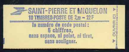 Booklet - St Pierre & Miquelon 1986 Liberty 22f booklet complete and pristine, SG SB1
