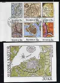 Booklet - Sweden 1991 Maps 30k booklet complete with first day cancels, SG SB435