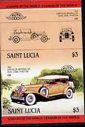 St Lucia 1984 Cars #2 (Leaders of the World) $3 Chrysler Imperial (1931) unmounted mint imperf se-tenant pair (as SG 759a)