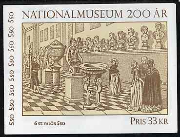 Booklet - Sweden 1992 National Museum 33k booklet complete with first day cancels, SG SB451