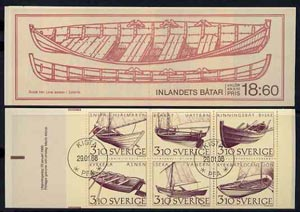 Booklet - Sweden 1988 Inland Boats 18k60 booklet complete with first day cancels, SG SB405