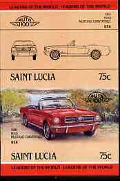 St Lucia 1984 Cars #2 (Leaders of the World) 75c Ford Mustang (1965) unmounted mint imperf se-tenant pair (as SG 753a) unmounted mint