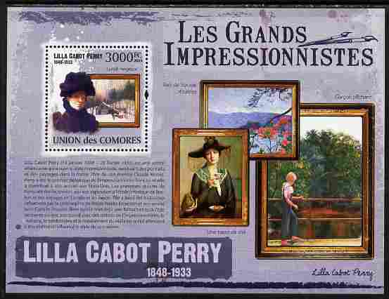 Comoro Islands 2009 The Impressionists - Lilla Cabot Perry perf souvenir sheet unmounted mint