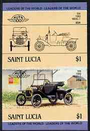 St Lucia 1984 Cars #2 (Leaders of the World) $1 Ford Model 'T' (1914) unmounted mint imperf se-tenant pair (as SG 755a)