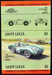 St Lucia 1984 Cars #2 (Leaders of the World) $2 Aston Martin DB3S (1954) unmounted mint imperf se-tenant pair (as SG 757a)