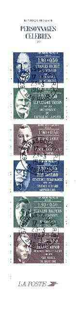 Booklet - France 1987 Medical Celebrities 15f30 Booklet complete with first day cancels SG CSB8