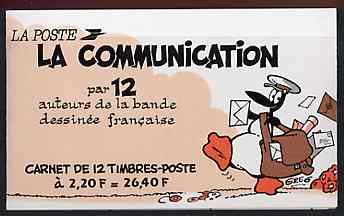 Booklet - France 1988 Communications (Comic Characters) 26f40 Booklet complete with first day cancels SG CSB10, stamps on communications, stamps on comics, stamps on postbox, stamps on indians, stamps on pram