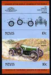 Nevis 1985 10c Sunbeam Coupe (1912) unmounted mint imperf se-tenant pair (as SG 326a)