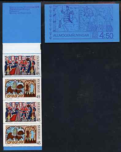 Booklet - Sweden 1973 Christmas 4k50 booklet (Peasant Paintings) complete and very fine, SG SB289