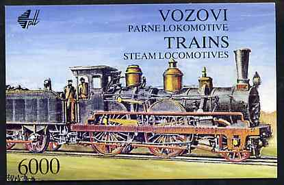 Booklet - Yugoslavia 1992 Steam Locomotives 6000d booklet complete and pristine (contains complete set of 6 values)