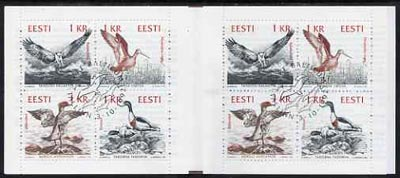 Booklet - Estonia 1992 Birds of the Baltic 8kr booklet complete containing two se-tenant blocks of 4 (2 sets) with first day commemorative cancel,
