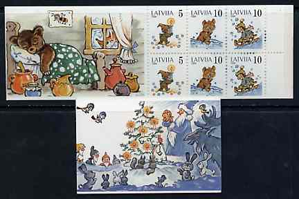 Booklet - Latvia 1994 Margarita Staraste (Children's Writer) 50s booklet complete and pristine, stamps on children     writers    literature    candle    bear    bobsled     honey, stamps on bees, stamps on insects