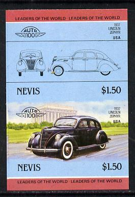 Nevis 1985 $1.50 Lincoln Zephyr (1937) unmounted mint imperf se-tenant pair (as SG 334a)