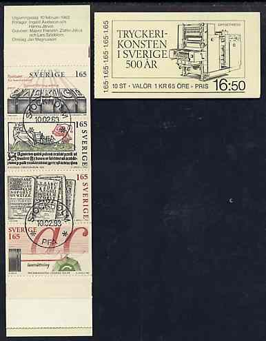 Booklet - Sweden 1983 500th Anniversary of Printing 16k50 booklet complete with first day cancels, SG SB363