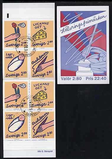 Booklet - Sweden 1992 Greetings Stamps 22k40 booklet complete with first day cancels, SG SB450