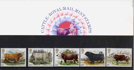 Great Britain 1984 British Cattle set of 5 in official presentation pack SG 1240-44